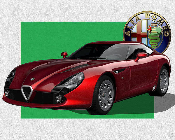 �alfa Romeo� By Serge Averbukh Poster featuring the photograph Alfa Romeo Zagato T Z 3 Stradale with 3 D Badge by Serge Averbukh