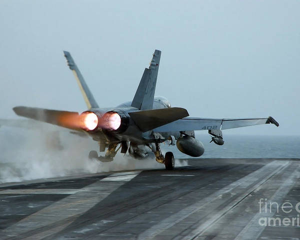 Color Image Poster featuring the photograph An Fa-18 Hornet Launches by Stocktrek Images