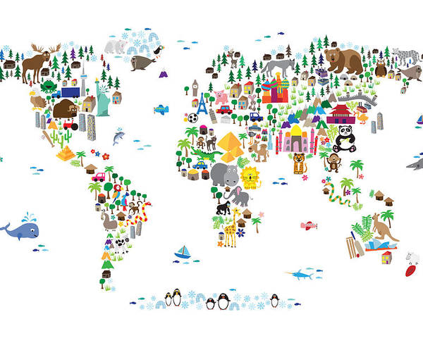 Map Of The World Poster featuring the digital art Animal Map of the World for children and kids by Michael Tompsett