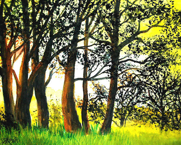 Landscape Poster featuring the painting Arbutus by Vivian Mosley
