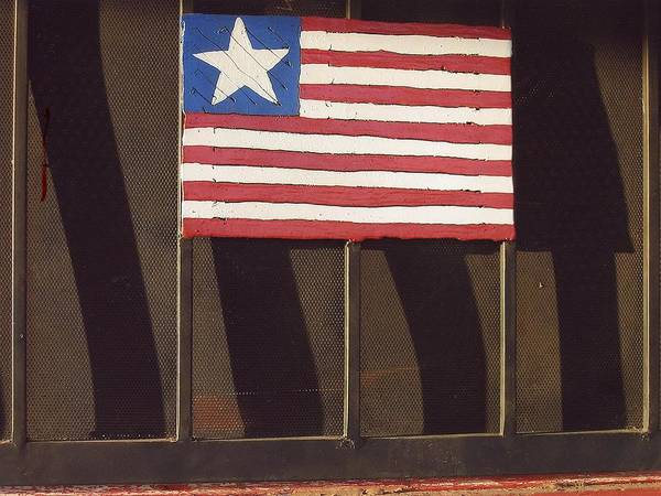 Art Homage Jasper Johns Flag Window Silver Dollar Bar Eloy Arizona 2004 Poster featuring the photograph Art Homage Jasper Johns Flag Window Silver Dollar Bar Eloy Arizona 2004 by David Lee Guss