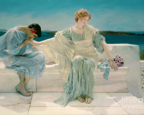 Ask Poster featuring the painting Ask Me No More by Sir Lawrence Alma-Tadema