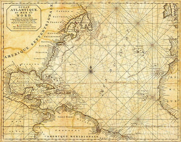 Atlantic Ocean Caribbean Sea Vintage Maritime Map Poster