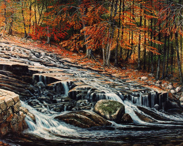Landscape Poster featuring the painting Autumn Cascade by Frank Wilson