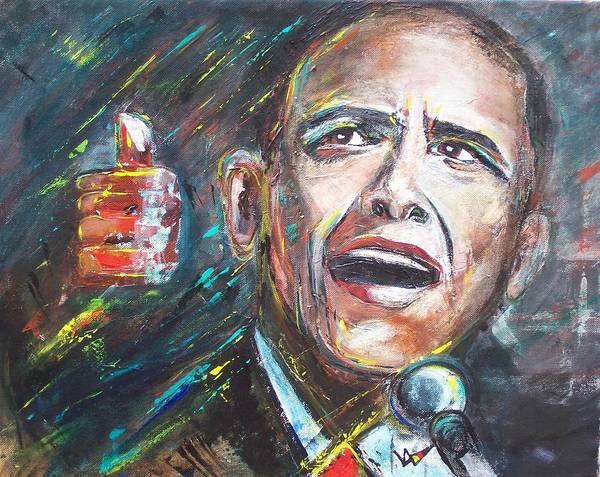 Barack Poster featuring the painting Barack Obama by Valerie Wolf