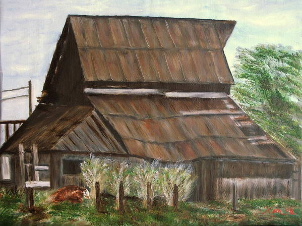 Landscape Old Barn Cow Poster featuring the painting Barn and Cow by Kenneth LePoidevin
