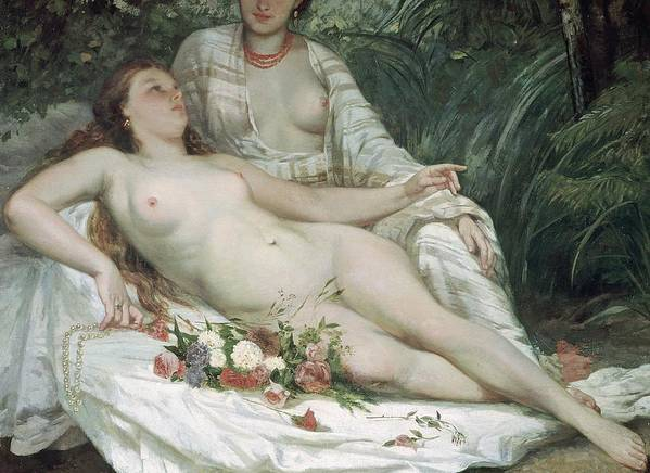 Nude Poster featuring the painting Bathers Or Two Nude Women by Gustave Courbet