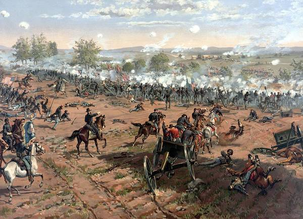 Civil War Poster featuring the painting Battle Of Gettysburg 4 by War Is Hell Store