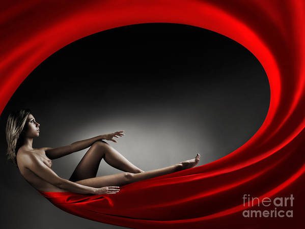 Woman Poster featuring the photograph Beautiful Woman In A Whirl Of Power by Maxim Images Prints