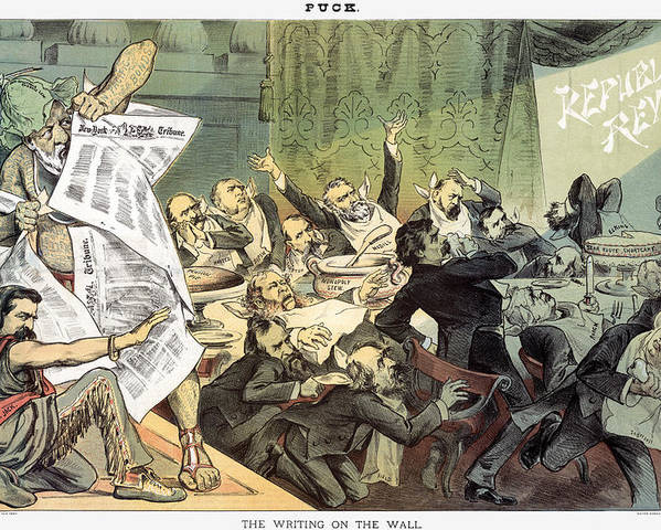 1884 Poster featuring the photograph Blaine Cartoon, 1884 by Granger