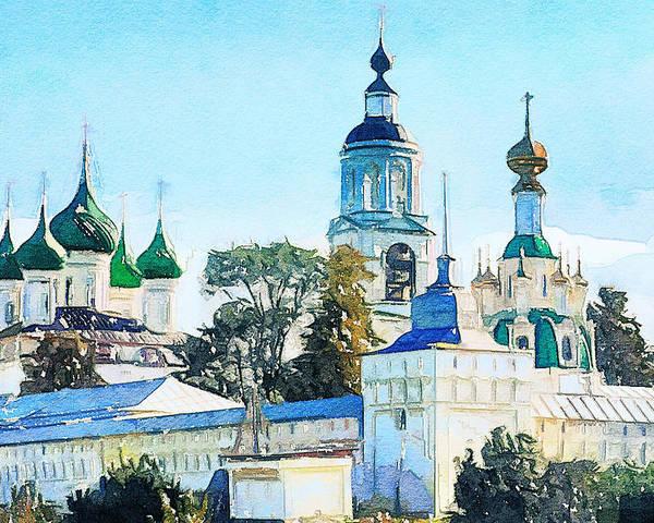 Church Poster featuring the digital art Blue Church by Yury Malkov