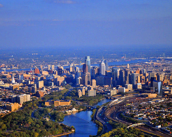 1 Boathouse Row Philadelphia Pa Poster featuring the photograph 1 Boathouse Row Philadelphia Pa Skyline Aerial Photograph by Duncan Pearson