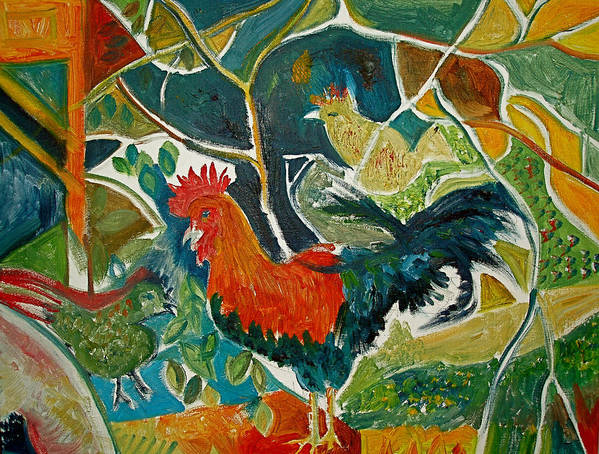 Cockerel Poster featuring the painting Bonjour Ma Jollie by Mike Shepley DA Edin
