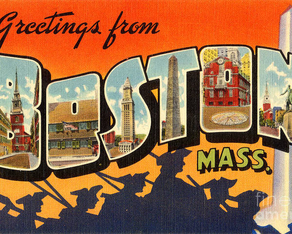 VINTAGE BOSTON MASSACHUSETTS VACATION TRAVEL AD POSTER ART REAL CANVAS PRINT