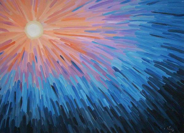 Angela Mustin Poster featuring the painting Burst by Angela Mustin