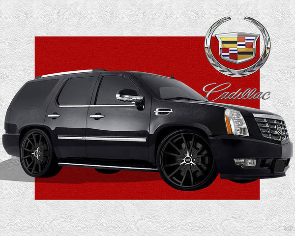 �cadillac� By Serge Averbukh Poster featuring the photograph Cadillac Escalade with 3 D Badge by Serge Averbukh