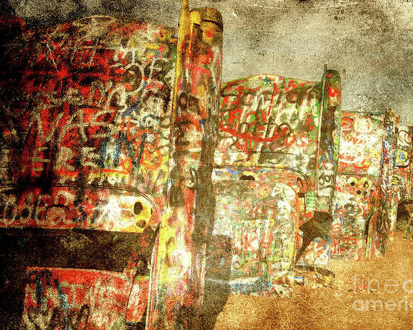 Cadillac Poster featuring the photograph Cadillac Ranch On Route 66 by Susanne Van Hulst