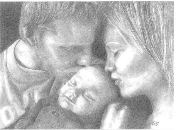 Graphite Poster featuring the drawing Cassiday Family 1 by Rhonda Rodericks