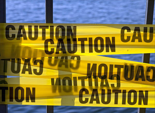 Sign Poster featuring the photograph Caution by Robert Ullmann