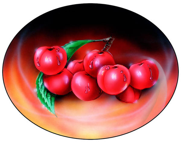 Cherries Poster featuring the painting Cherry by Nick Freemon