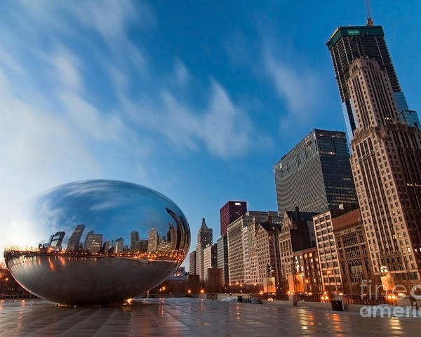 Chicago Skyline Poster featuring the photograph Chicago Skyline And Bean At Sunrise by Sven Brogren