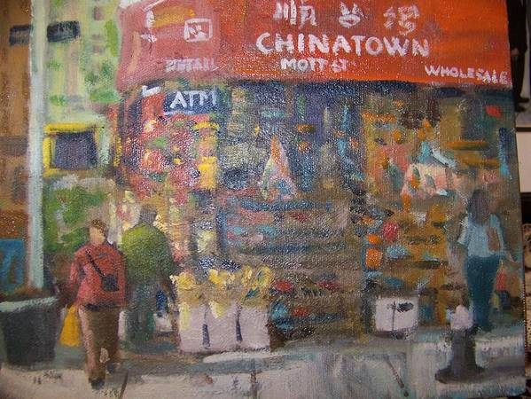 Store In Chinatown Ny Poster featuring the painting Chinatown by Bart DeCeglie