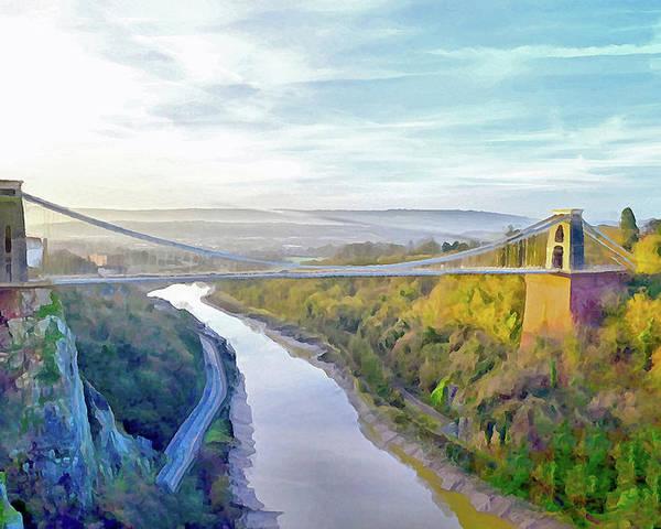 Clifton Suspension Bridge Poster featuring the digital art Clifton Suspension Bridge by Bishopston Fine Art
