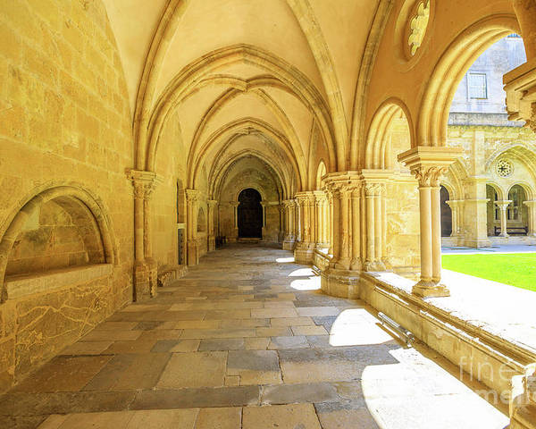 Coimbra Poster featuring the photograph Coimbra Cathedral Colonnade by Benny Marty