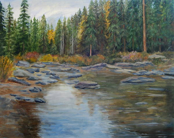 Nature Poster featuring the painting Colorado Reflections by Lorna Skeie
