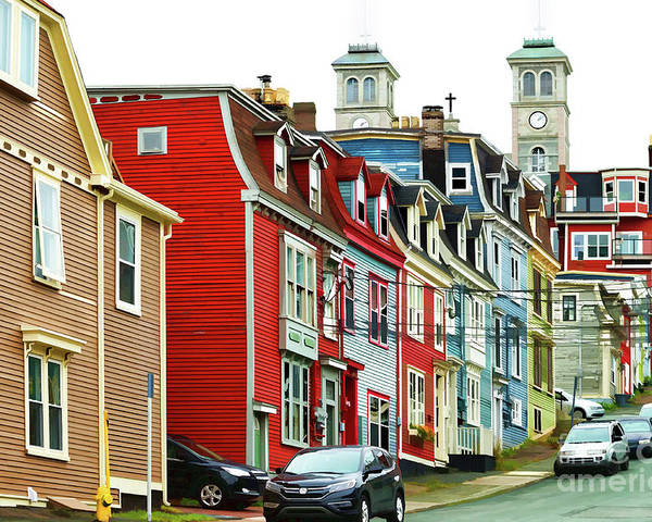 St.john's Poster featuring the digital art Colorful Houses In St. Johns In Newfoundland by Les Palenik
