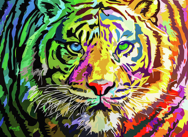 Feline Poster featuring the painting Colorful Tiger by Anthony Mwangi