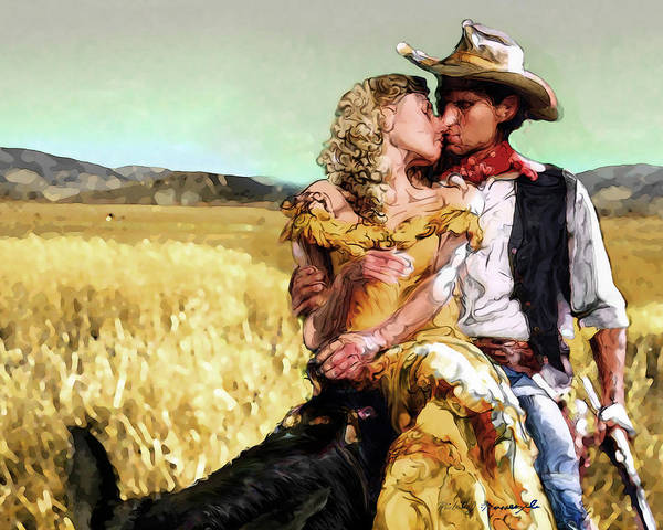 Cowboy Poster featuring the digital art Cowboy's Romance by Mike Massengale