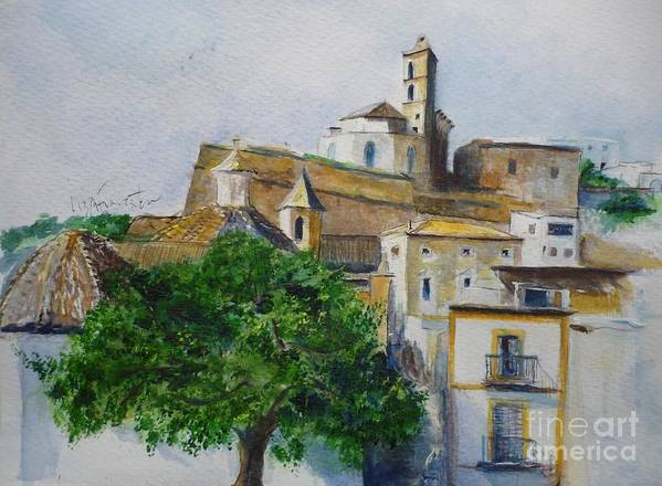 Buildings Poster featuring the painting D Alt Vila Ibiza Old Town by Lizzy Forrester