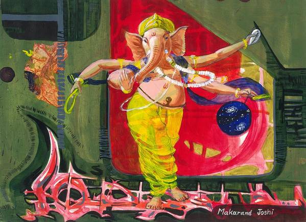 Makarand Joshi Poster featuring the painting Dancing Ganapati With Universe And Abstract Back Ground by Makarand Joshi