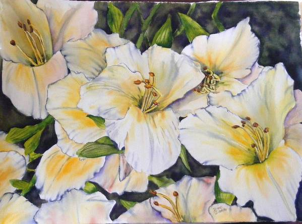 Floral Poster featuring the painting Daylilies by Diane Ziemski
