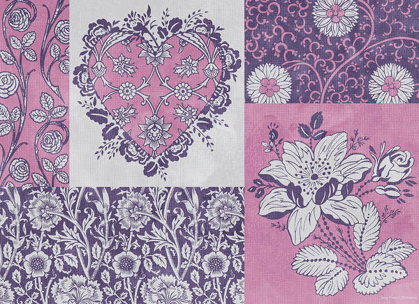Flowers Poster featuring the painting Deco Heart Pink by JQ Licensing