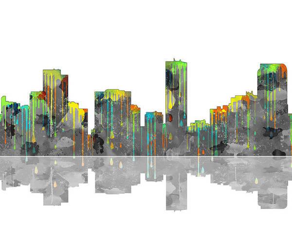Denver Colorado Skyline Poster featuring the digital art Denver Colorado Skyline by Marlene Watson