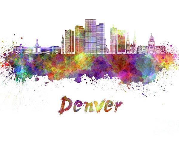 Denver Skyline In Watercolor Poster By Pablo Romero