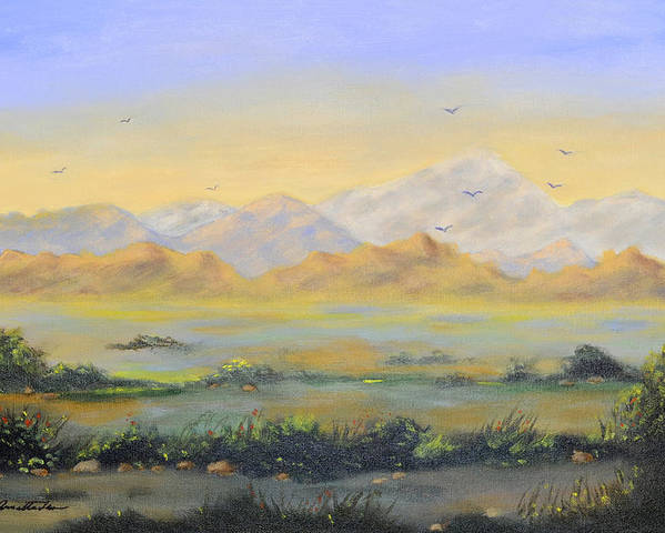 Landscape Poster featuring the painting Desert Sunrise by Annette Tan