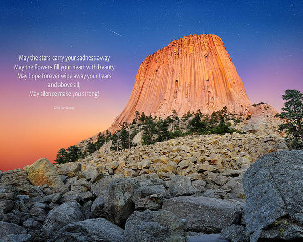 Blue Poster featuring the photograph Devils Tower by Edwin Verin
