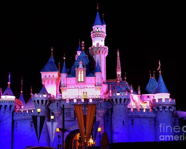 Disneyland Castle At Night Poster By Mariola Bitner