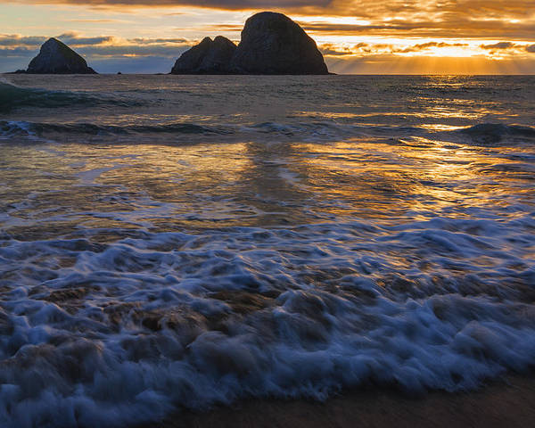 Oregon Coast Poster featuring the photograph Dramatic Sunset Oregon Coast Usa by Vishwanath Bhat