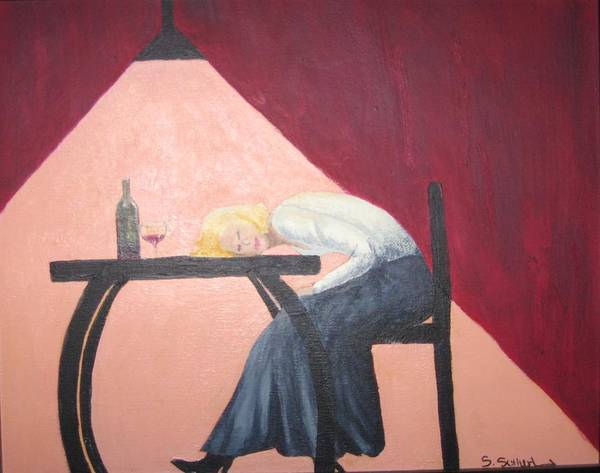 Figure Poster featuring the painting Drinking With Wanda by Sheryl Sutherland