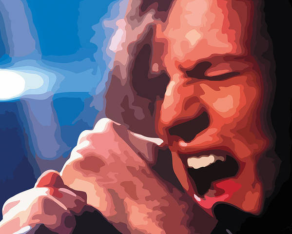 Black Poster featuring the digital art Eddie Vedder by Gordon Dean II