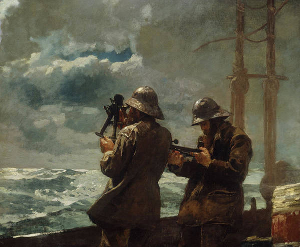 Eight Bells By Winslow Homer (oil On Canvas) Sea Poster featuring the painting Eight Bells by Winslow Homer