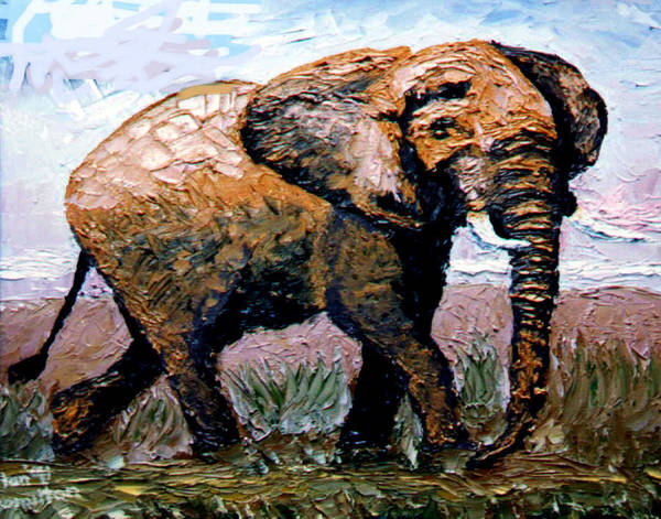 Elephant Poster featuring the painting Elephant by Stan Hamilton