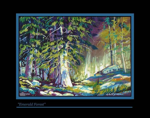 Pastoal Forest Glen With Trees And Rocks Oil Painting Poster featuring the painting Emerald Forest by Walt Green