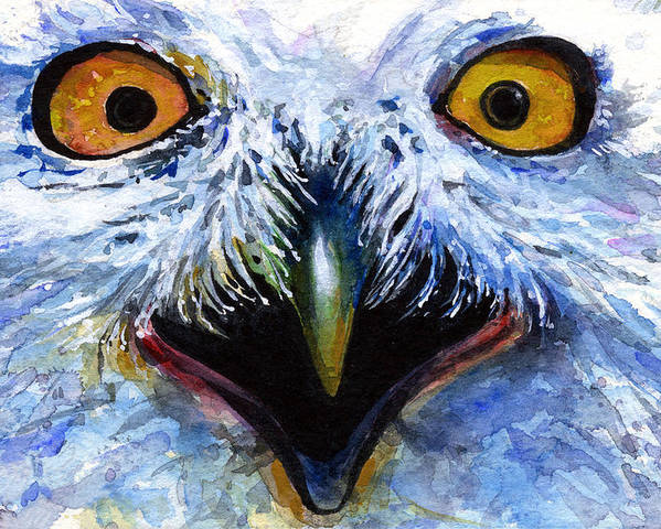 Eye Poster featuring the painting Eyes Of Owls No. 15 by John D Benson