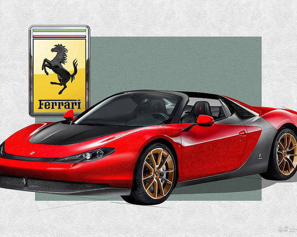 �ferrari� Collection By Serge Averbukh Poster featuring the photograph Ferrari Sergio with 3D Badge by Serge Averbukh