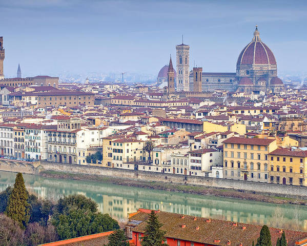 Ancient; Arch; Architecture; Art; Building; City; Cityscape; Colorful; Culture; Europe; Famous; Firenze; Florence; Heritage; History; Italian; Italy; Landmark; Landscape; Light; Man; Medieval; Michelangelo; Old; Ponte; Reflection; Renaissance; Roman; Street; Summer; Tourism; Tourist; Travel; Tuscany; Urban; Bike Poster featuring the photograph Florence by Andre Goncalves